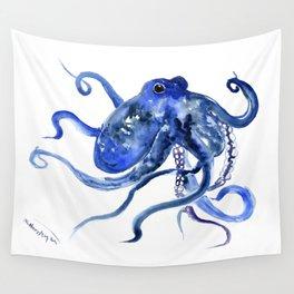 Octopus Design Blue Navy Blue Beach, cute ocotpus texture art Wall Tapestry