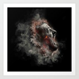 Burning face of man art Art Print