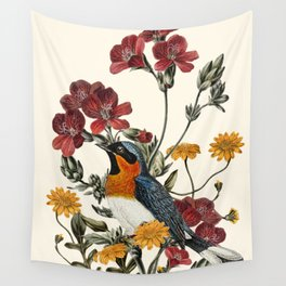 Little Bird and Flowers Wall Tapestry