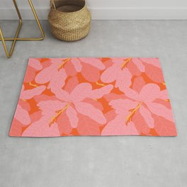 Tropicana Banana Leaves in Coral Spice Rug