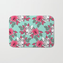 Stylish leopard and cactus flower pattern Bath Mat