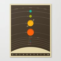 vintage Canvas Prints featuring Solar System by Jazzberry Blue