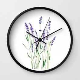 purple lavender watercolor painting Wall Clock