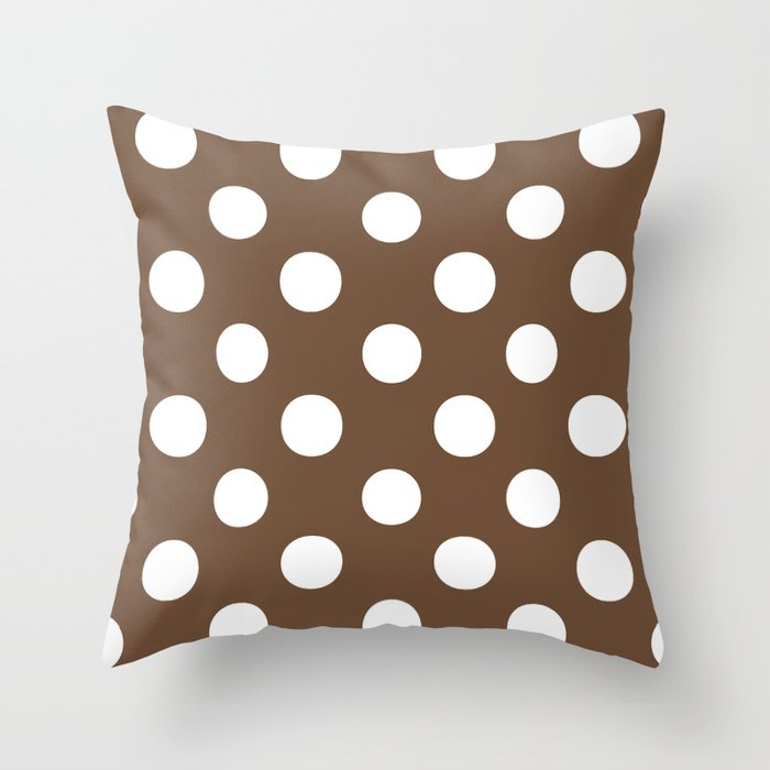 Polka Dots (White/Coffee) Throw Pillow
