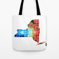 yankees Tote Bags featuring New York - Map By Sharon Cummings by Sharon Cummings