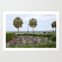 Palm Trees and Flowers Art Print