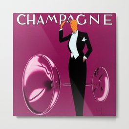 Vintage Champagne Pink Veuve A. Devaux, Paris, France Jazz Age Roaring Twenties Advertisement Poster Metal Print