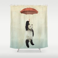 orange Shower Curtains featuring Pandachute by Vin Zzep