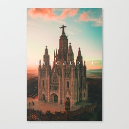 Barcelona Cathedral - Typography on Photography Canvas Print
