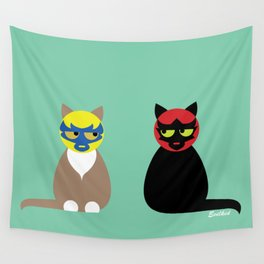 Gatos Luchadores Wall Tapestry