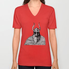 Viking with his striped cape Unisex V-Neck