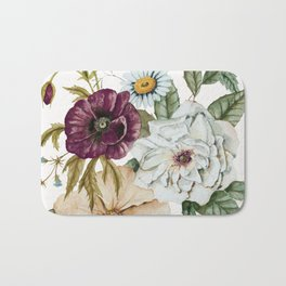Colorful Wildflower Bouquet on White Bath Mat