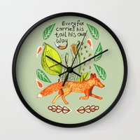 sayings Wall Clocks featuring Every Fox...fox, sayings, typography, quote, nature, leaves by Slumbermonkey Designs