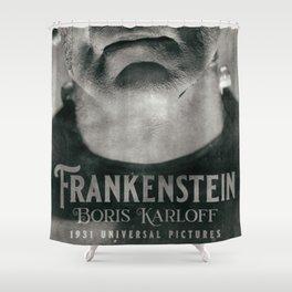 Frankenstein, vintage movie poster, Boris Karloff, horror film, Mary Shelley book cover Shower Curtain