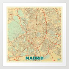 Madrid Map Retro Art Print