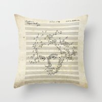 beethoven Throw Pillows featuring Beethoven by bananabread
