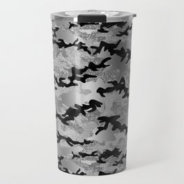 Silver Faux Glitter Camouflage Travel Mug