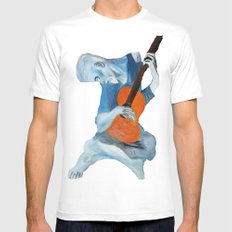 Picasso's Blue Man  White MEDIUM Mens Fitted Tee