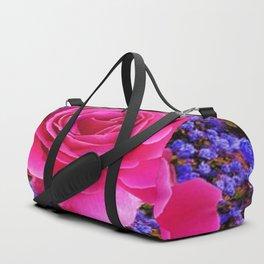CERISE PINK GARDEN ROSE & PURPLE FLOWERS Duffle Bag
