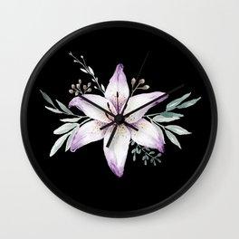 Lilium black Wall Clock