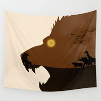 simba Wall Tapestries featuring The Lion King by Rowan Stocks-Moore