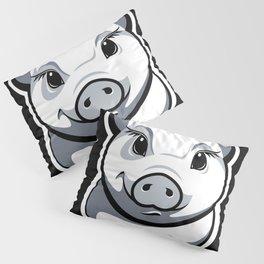 Piggy black & white Pillow Sham