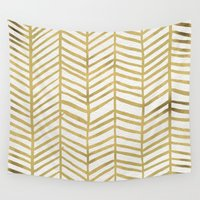 abstract Wall Tapestries featuring Gold Herringbone by Cat Coquillette