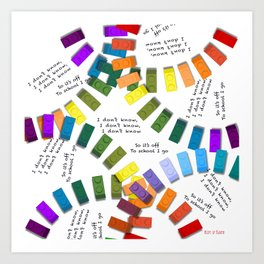 Off to school I go - with my colorful building blocks Art Print
