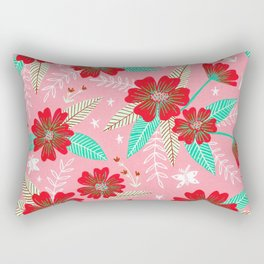 Floral Moths - Pink Rectangular Pillow