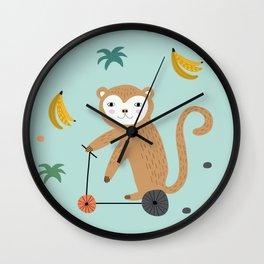 Mr. Monkey - Sea Green Wall Clock