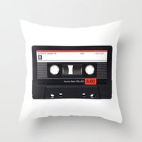 tape Throw Pillows featuring Old School Tape by Ewan Arnolda