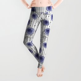 Blue Roses on striped background. Leggings