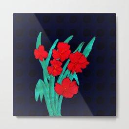 Red flowers gladiolus art nouveau style Metal Print