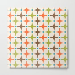Mid Century Modern Star Pattern 814 Brown Orange Turquoise Chartreuse Metal Print