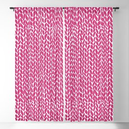 Hand Knit Hot Pink Blackout Curtain
