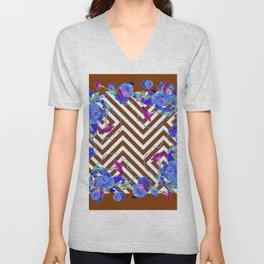 Coffee Brown Blue Morning Glories Abstract Pattern garden  Art Unisex V-Neck