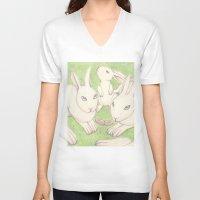 bunnies V-neck T-shirts featuring Bunnies by Adi Yochalis