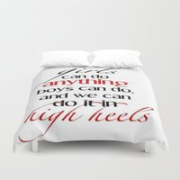 heels Duvet Covers featuring Heels by Luxe Glam Decor