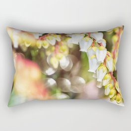 Beautiful Pieris Japonica small white flowers close-up blossoming in spring Rectangular Pillow