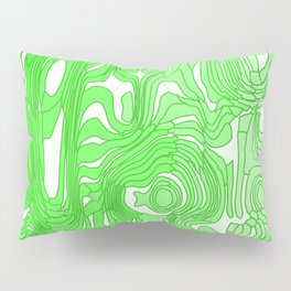 Twisted interweaving of green spots from flowing lava and light chaotic spots. Pillow Sham