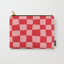 Hand Drawn Checkerboard Pattern (red/pink) Carry-All Pouch