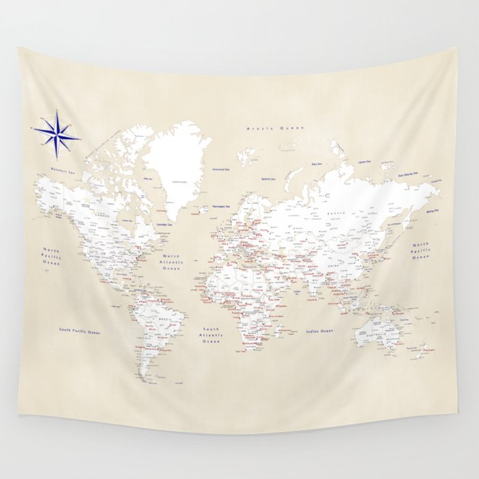 """Cream, white, red and navy blue world map, """"Deuce"""" Wall Tapestry"""