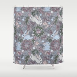 Hare and eggs Shower Curtain