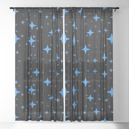 Bright Blue  Stars in Space Sheer Curtain
