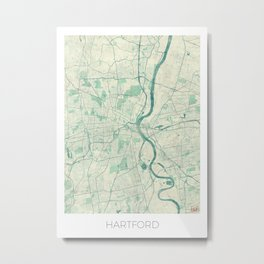 Hartford Map Blue Vintage Metal Print