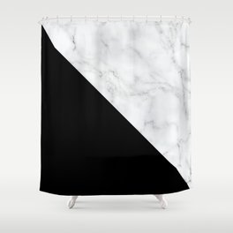 Marble Black and White Abstract Color Block Shower Curtain