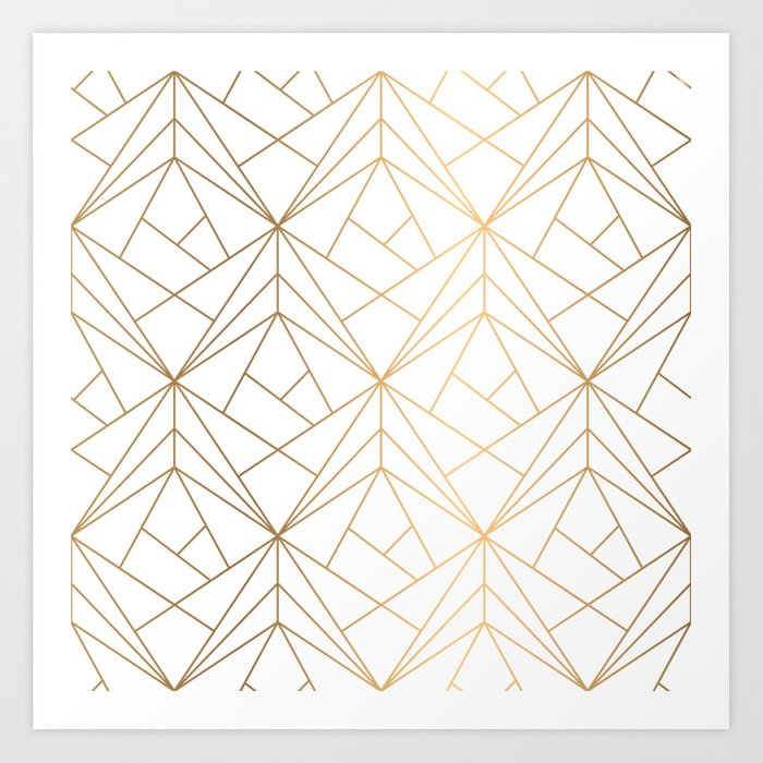 Geometric Gold Pattern With White Shimmer Kunstdrucke