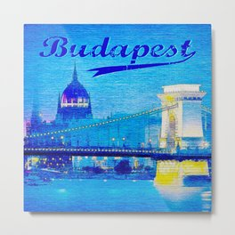 Budapest, light blue Metal Print