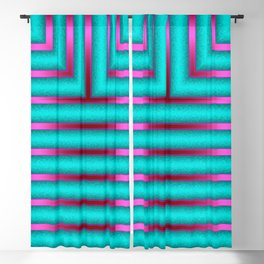 Art Deco Geometric Green and Pink Glowing Columns Blackout Curtain