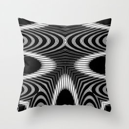 Geometric Black and White Skeleton African-Inspired Pattern Throw Pillow